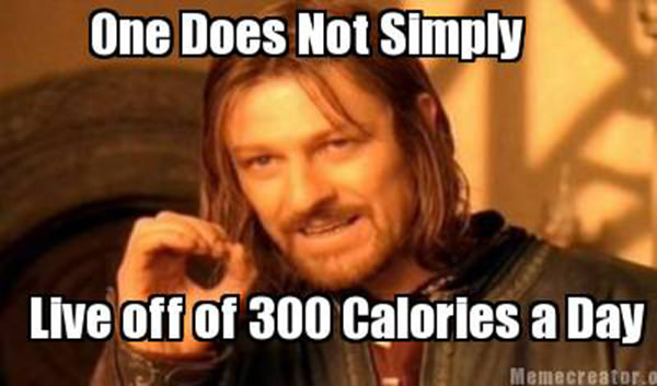 Tickled #305: <p>One does not simply live off 300 calories a day.</p>