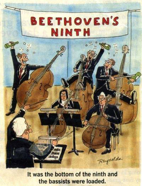 Tickled #464: Beethoven's Ninth. It was the bottom of the ninth, and the bassists were loaded.