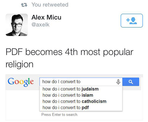 Tickled #557: PDF becomes 4th most popular religion.
