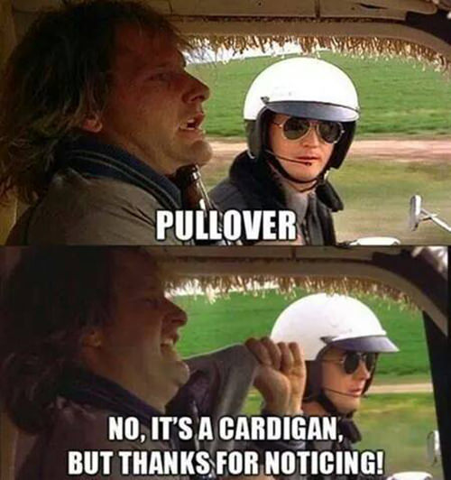Tickled #582: Pullover. No, it's a cardigan, but thanks for noticing.
