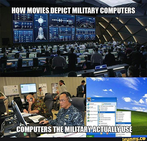 Tickled #622: How movies depict military computers vs computers the military actually use.