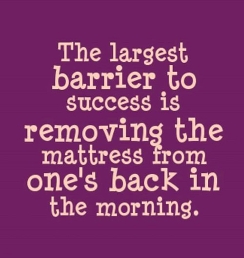 Tickled #623: The largest barrier to success is removing the mattress from one's back in the morning.