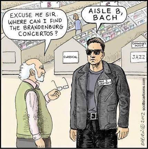 Tickled #658: Excuse me, sir. Where can I find the Brandenburg concertos? Aisle B, Bach